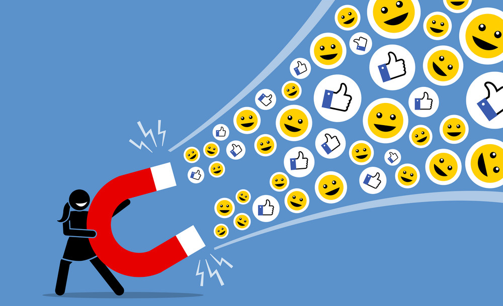 A lead magnet will help Kenyan businesses online to attract social media likes thumb up, and smiles so they can be converted to customers. Vector artwork illustration depicts the concept of social media attraction, likes, hype, viral and the Internet technology.